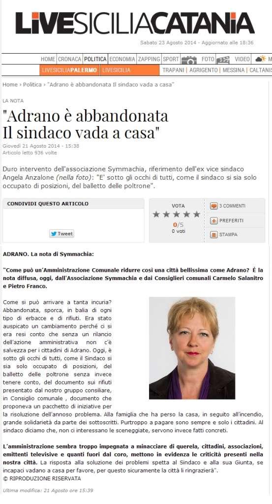 live sicilia dimissioni sindaco