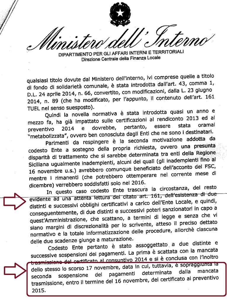 Nota Ministero